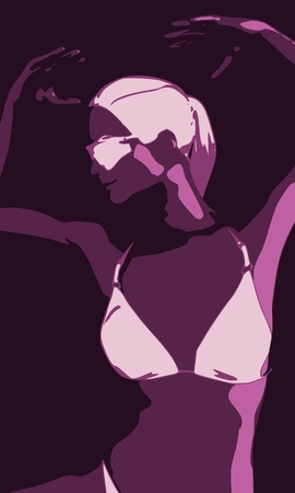 Beautiful sexy dancing girl. Pretty woman silhouette. Front view.