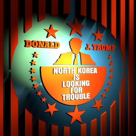USA - January, 2017: An illustration of a businessman icon in flat style and the US President Donald Trump name. Himself quote text. North korea is looking for trouble. 3d rendering