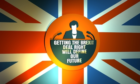 United Kingdom - Circa, 2017: An illustration of the Prime Minister of the United Kingdom Theresa May. Herself quote. Getting the brexit we deal right will define our future. 3D rendering Editorial