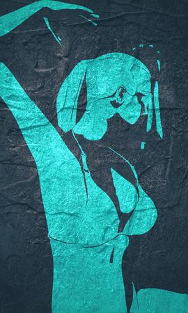 Beautiful sexy dancing girl. Pretty woman silhouette. Half turn view. Imagens
