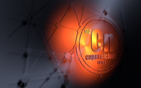 Copernicium chemical element. Sign with atomic number and atomic weight. Chemical element of periodic table. Molecule and communication background. Connected lines with dots. 3D rendering Stock Photo