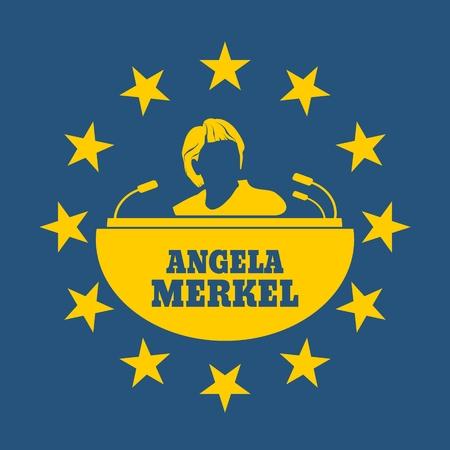 Germany - Circa, 2017: An illustration of a portrait of german chancellor Angela Merkel portrait. Frame from stars.