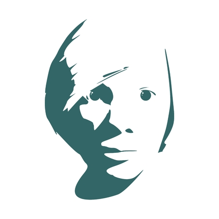 Face front view. Elegant silhouette of a head.