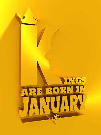 Vintage medieval royal crown silhouette. Medieval king profile. Kings are born in january text. Motivation quote. 3D rendering Stock Photo
