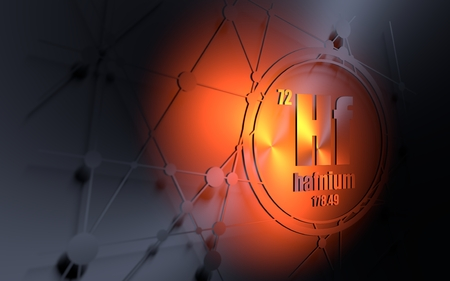 Hafnium chemical element. Sign with atomic number and atomic weight. Chemical element of periodic table. Molecule and communication background. Connected lines with dots. 3D rendering