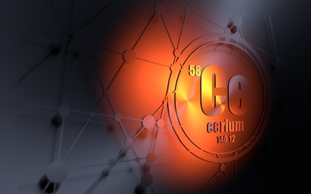 Cerium chemical element. Sign with atomic number and atomic weight. Chemical element of periodic table. Molecule and communication background. Connected lines with dots. 3D rendering