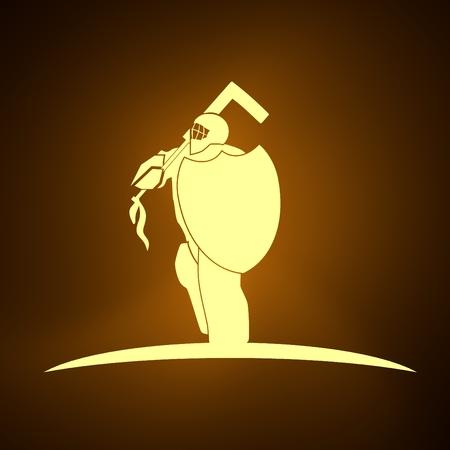 An illustration of ice hockey goalie with knight shield. Sport equipment or club emblem. Neon bulb illumination. 3D rendering