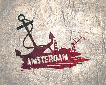 Anchor, lighthouse, ship and crane icons on brush stroke. Calligraphy inscription. Amsterdam cargo port name. Grunge texture Stock Photo