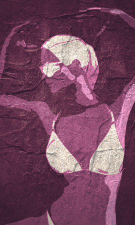 Beautiful sexy dancing girl. Pretty woman silhouette. Front view. Grunge texture Imagens