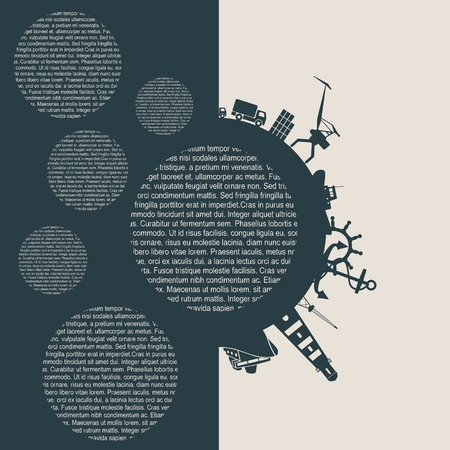 Circle with sea shipping and travel relative silhouettes Illustration