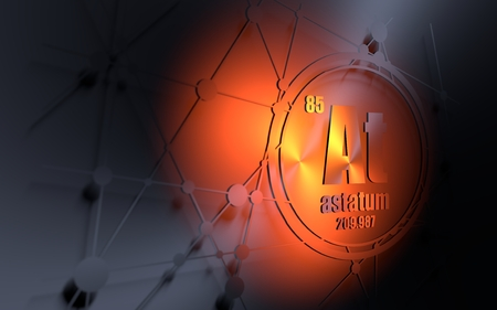 Astatum chemical element. Sign with atomic number and atomic weight. Chemical element of periodic table. Molecule and communication background. Connected lines with dots. 3D rendering