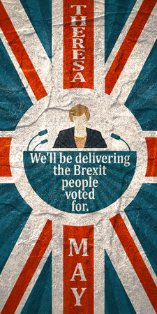United Kingdom - Circa, 2017: An illustration of a woman icon and the Prime Minister of the United Kingdom Theresa May name. Herself quote. Flag of Britain. We will be delivering the brexit people Editorial