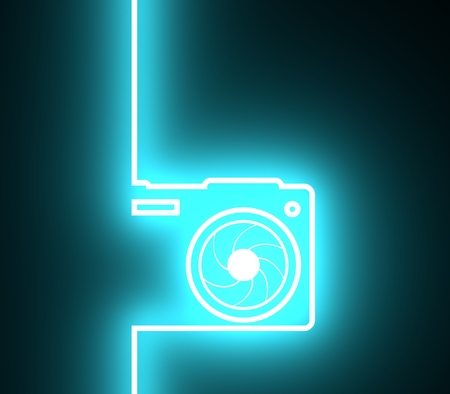 Photo camera icon. Outline silhouette with lens aperture. 3D rendering. Neon bulb illumination Stock Photo