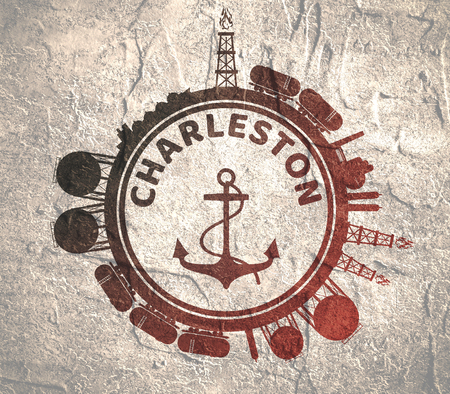 Circle with cargo theme relative silhouettes. Design set of natural gas logistic. Objects located around circle with anchor in the center of them. Charleston port name. Grunge texture