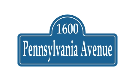 Street signs with an inscription Pennsylvania Avenue and building number of official residence and workplace of the President of the United States Çizim