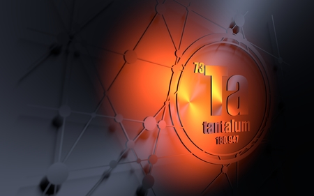 Tantalum chemical element. Sign with atomic number and atomic weight. Chemical element of periodic table. Molecule and communication background. Connected lines with dots. 3D rendering
