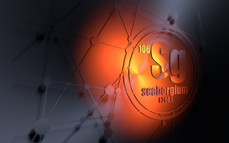 Seaborgium chemical element. Sign with atomic number and atomic weight. Chemical element of periodic table. Molecule and communication background. Connected lines with dots. 3D rendering Stock Photo