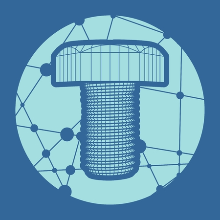 An illustration of the abstract wireframe style bolt . Service and repair relative image. Round icon with texture from connected lines with dots.