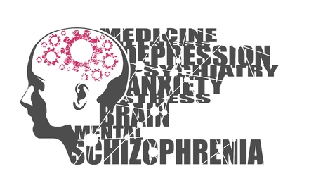 Abstract illustration of a human head. Woman face silhouette. Medical theme creative concept. Schizophrenia disease tags cloud. Damaged gears in brain as symbol of mental disease