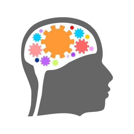 頭のシルエット。メンタルヘルス相対設計テンプレート。脳のシンボルとしての歯車群