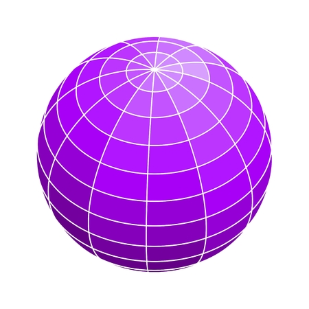Wire frame style design. Platonic solid design of Earth globe.