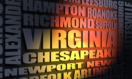 Image relative to USA travel. Virginia cities and places names cloud. 3D rendering Stock Photo