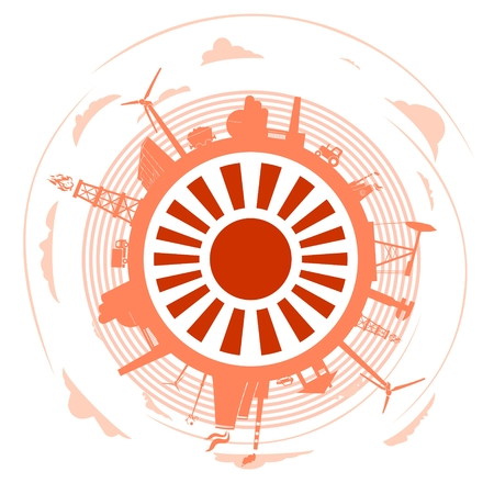 Circle with industry relative silhouettes. Objects located around the circle. Industrial design background. Field for text in the center. Illustration