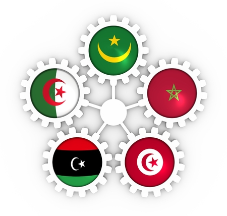 Arab Maghreb Union - association of five national economies members flags on gears. A trade agreement unity among Arab countries of the Maghreb in North Africa. 3D rendering Stock Photo