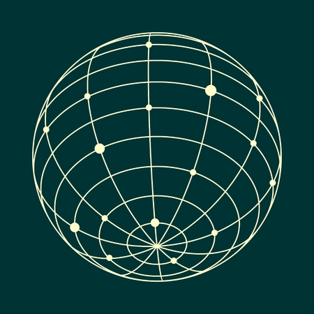 Wire frame with globe style design. Platonic solid design. Connected lines with dots.