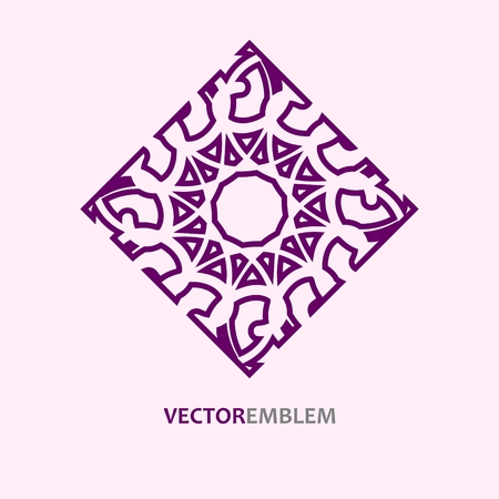 Mosaic Arabic ornament vector outline rhombus emblem retro ornamental design. Illustration