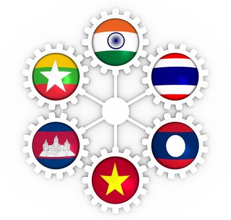 Cooperación Mekong Ganga. Banderas de miembros de la unión política y económica en ruedas dentadas. Trabajo en equipo global. Representación 3D Foto de archivo