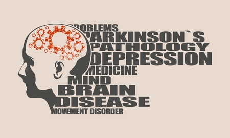 Abstract illustration of a human head. Woman face silhouette. Medical theme creative concept. Parkinsons syndrome disease tags cloud. Damaged gears in brain as symbol of mental disease.