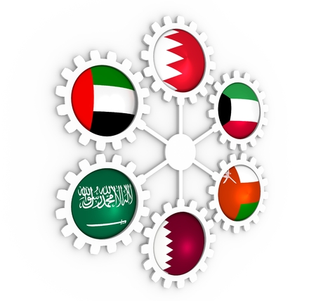 Cooperation Council for the Arab States of the Gulf political and economic union members flags on gears. 3D rendering Banque d'images