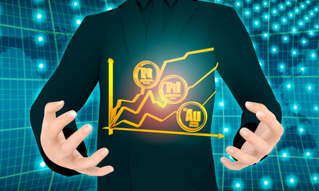 Man holding growth diagram and precious metals labels in hands. Stock exchange relative. 3D rendering Stock Photo