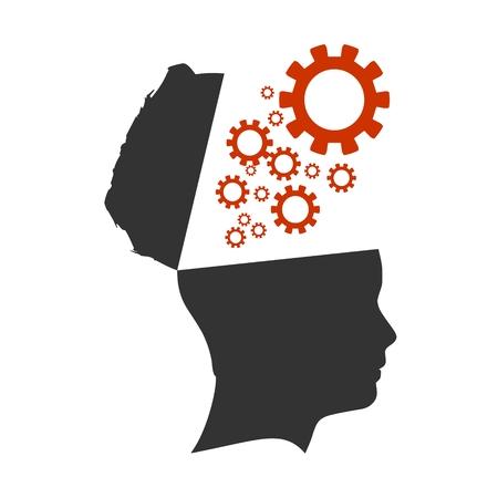 Engrenagens voam para fora da cabeça aberta. Modelo de design relativo de saúde mental. Metáfora do processo de pensamento
