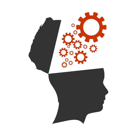Gears fly out from the open head. Mental health relative design template. Thinking process metaphor