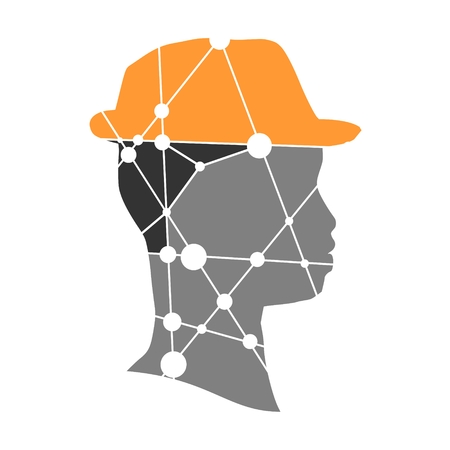 Profile of the head of a man. Scientific medical design. Molecule And Communication Background. Connected lines with dots. Illustration