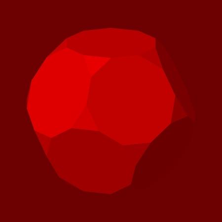 Geometric design. Platonic solid design. Red background Illustration