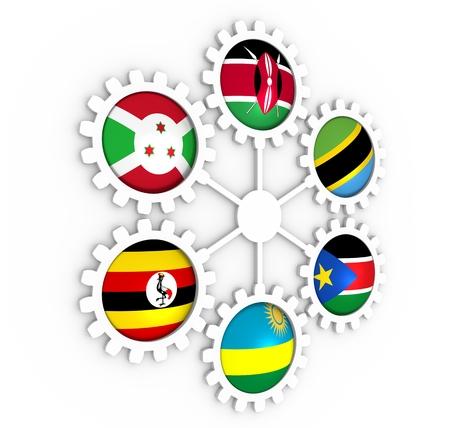 East African Community, EAC association of five national economies members flags on gear. Global teamwork. Blue background. 3D rendering