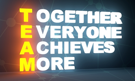 Together everyone achieves more. Teamwork business concept acronym. 3D rendering 스톡 콘텐츠