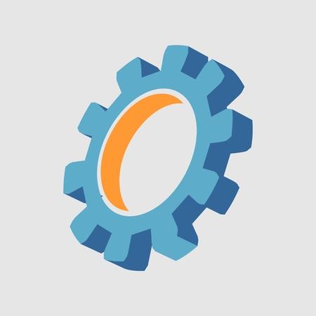 Gear 3D symbol. Minimal abstract logo template. Precision machinery relative Stock Illustratie