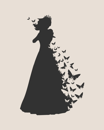 Sexy woman silhouette in evening dress. Medieval queen or princess monochrome silhouette with butterflies.