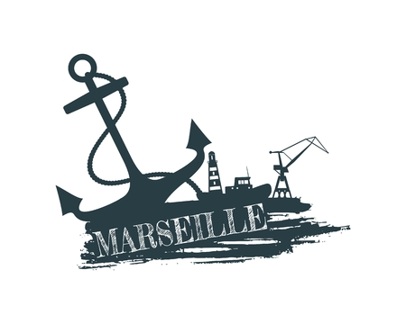 Anchor, lighthouse, ship and crane icons on brush stroke. Calligraphy inscription. Marseille city name text