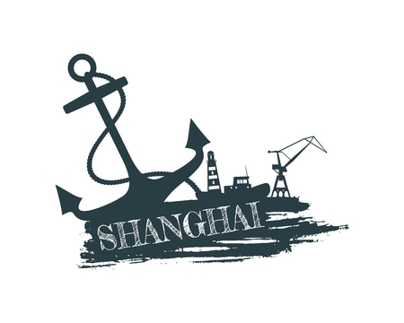 Anchor, lighthouse, ship and crane icons on brush stroke. Calligraphy inscription. Shanghai city name text