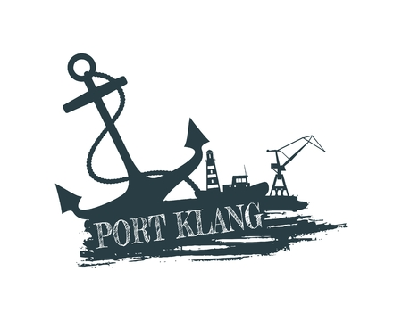 Anchor, lighthouse, ship and crane icons on brush stroke. Calligraphy inscription. Port Klang city name text