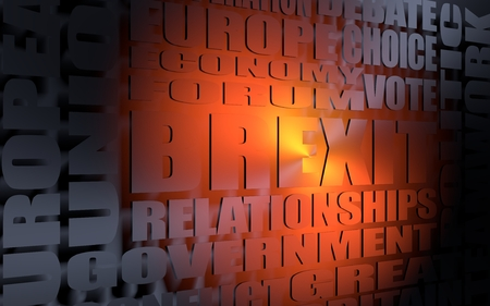 Words cloud relative to politic situation between Great Britain and European Union. Brexit named politic process. 3D rendering