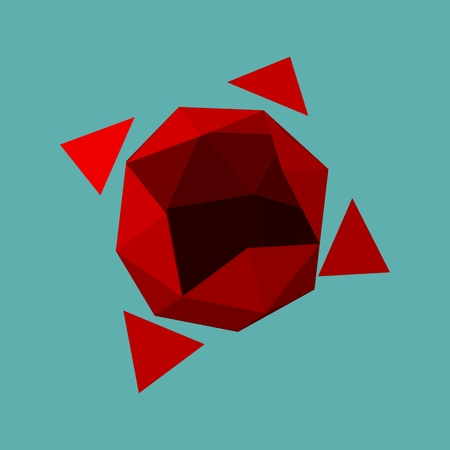 Wire frame style design. Platonic solid design. Red background Illustration