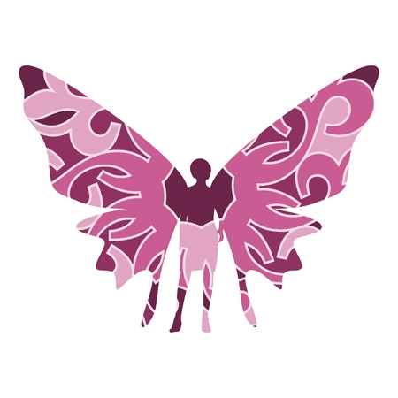 Butterfly with the body of a young woman. Abstract ornament illustration.