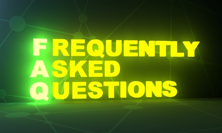 FAQ - frequently asked questions neon shine text. 3D rendering Фото со стока