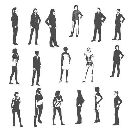 Fashion women silhouettes collection. Various pose and cloth 向量圖像